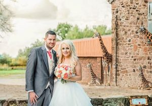 bride and groom portrait at Chester zoo