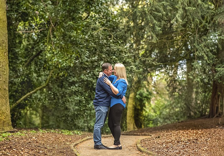 Engaged couple in woods - pre-wedding-photography