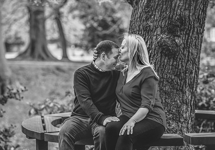 Engaged couple kissing - pre-wedding-photography
