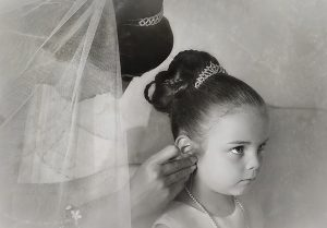 bride with daughter bridal preparations