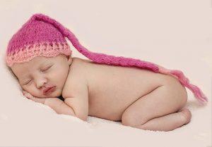 newborn girl pink hat