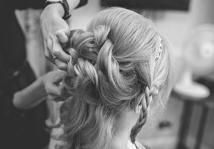 Bridal hair being pinned up