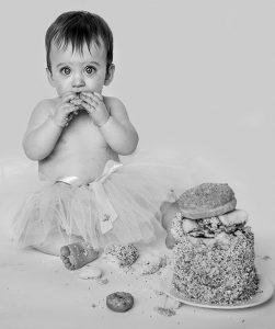 girl eating cake
