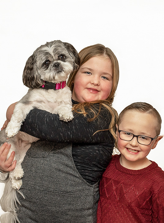 Kids with dog