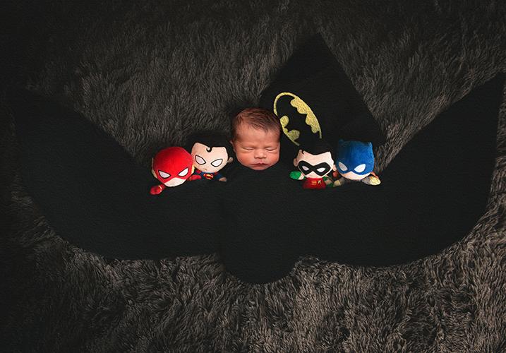 Newborn baby batman photoshoot